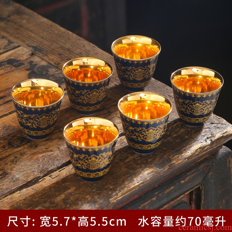 Kung fu tea cup silver cup small ceramic single master cup cup sample tea cup single tea cups of tea light cup