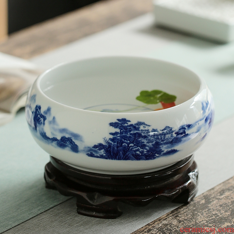Jingdezhen ceramic aquarium goldfish large blue and white turtle slept GangPen bowl lotus refers to basin of lotus cylinder small POTS