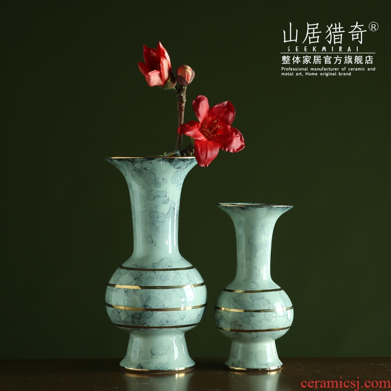 American light see colour up ceramic flower vases modern Chinese style key-2 luxury soft outfit TV ark, the table decoration flowers