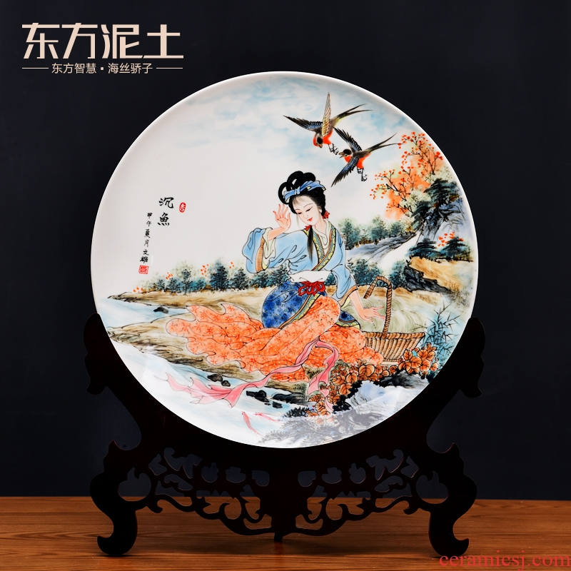 The four most beautiful women Oriental clay ceramic hang dish xi shi sable cicada Yang wang zhaojun wine sitting room adornment