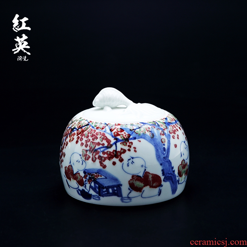 Hongying ceramics jingdezhen blue and white porcelain youligong caddy fixings general hand - made sealed jar medium storage POTS