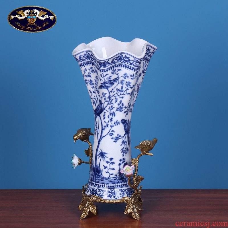 New Chinese style flower decoration handicraft sitting room home furnishing articles Europe type restoring ancient ways of blue and white porcelain vase flower decorations