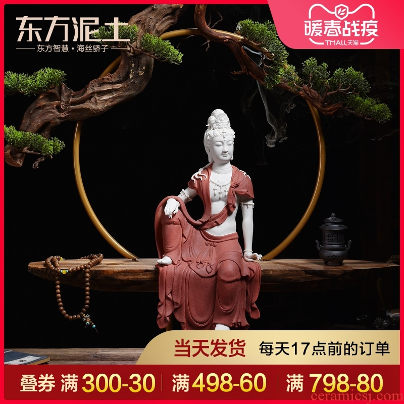 Oriental Chinese ceramic zen soil characters furnishing articles/comfortable guanyin sitting room porch dehua white porcelain arts and crafts