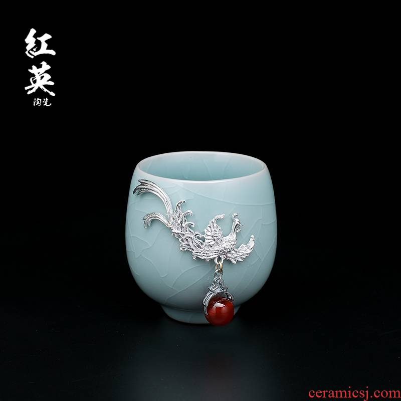 Red the jingdezhen ceramics your up household suit with silver sample tea cup high - capacity master cup single CPU kung fu tea cups