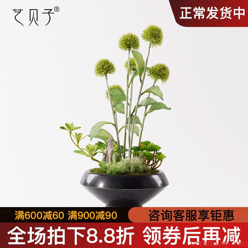 New Chinese style originality simulation plant bonsai rockery green plant flower art ceramics example room study soft adornment is placed