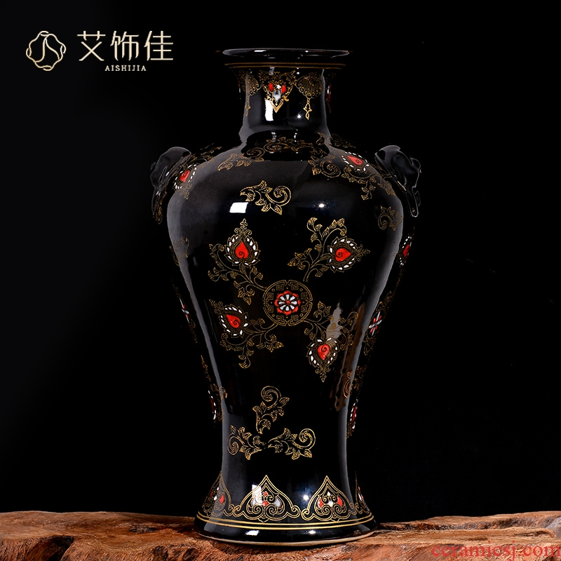 Sharply jingdezhen ceramics glaze antique ear vase collection of adornment of Chinese style sitting room porch TV ark, furnishing articles