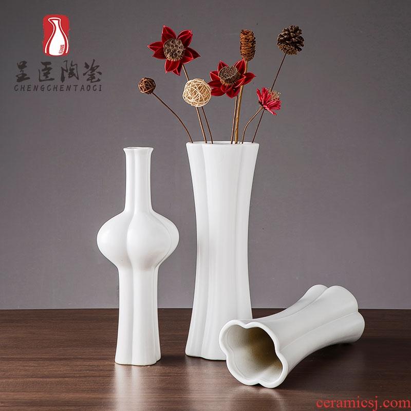 I and contracted black ceramic vase zen hotel decoration dry flower vase furnishing articles sitting room white flower vase
