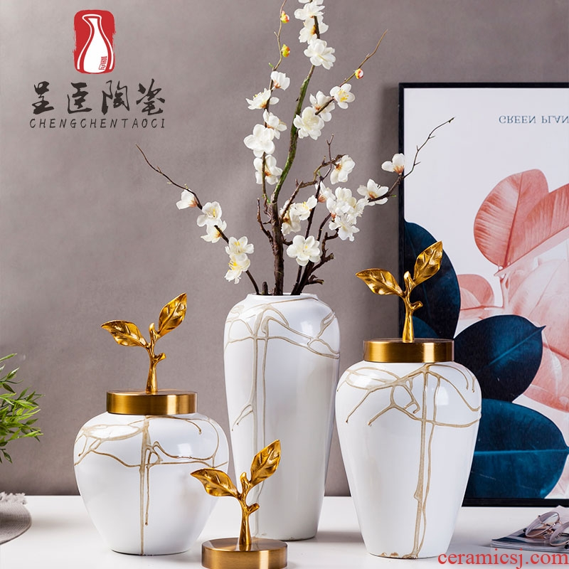 Jingdezhen new European - style decorative furnishing articles hotel example room living room TV cabinet mesa porch vases, flower decoration