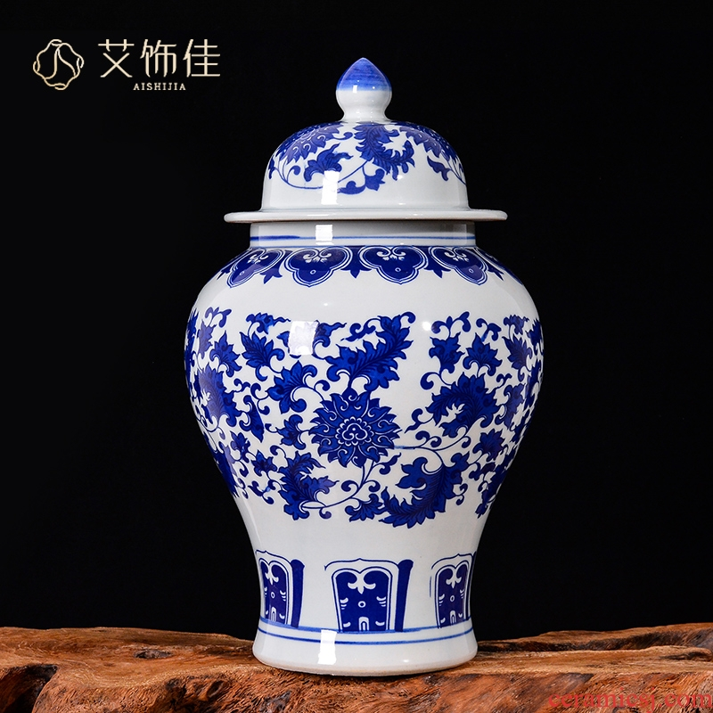 Jingdezhen ceramic general furnishing articles blue and white porcelain pot home bound lotus flower storage tank with cover caddy fixings sitting room decoration