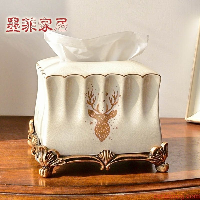 American modern European sitting room tea table tissue box furnishing articles ceramic pump cartons household table napkin box, home decoration
