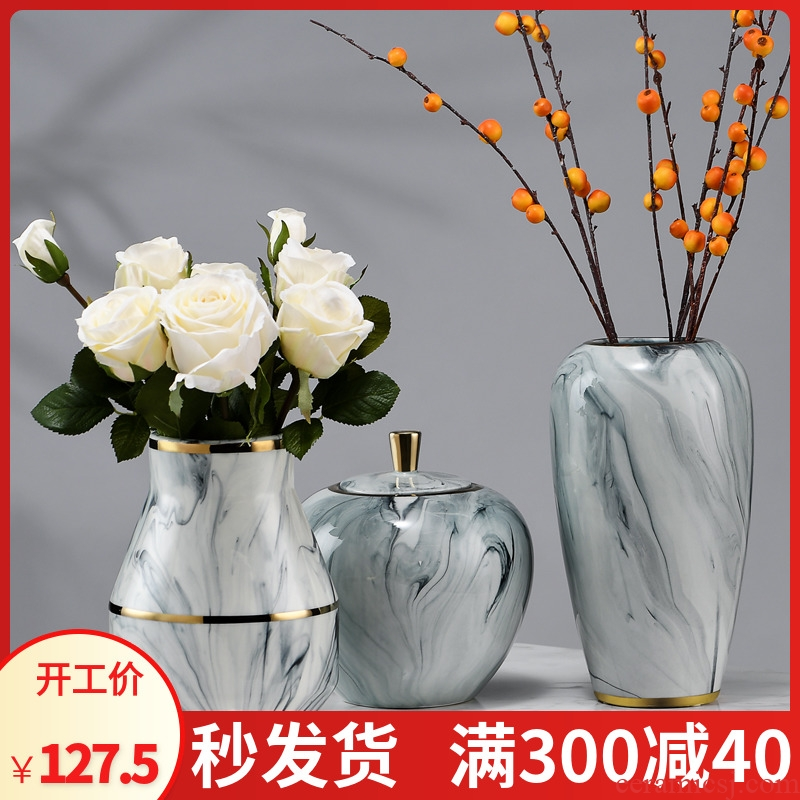 Jingdezhen blue and white porcelain vase furnishing articles ceramics flower arranging dried flowers sitting room porch rich ancient frame decoration