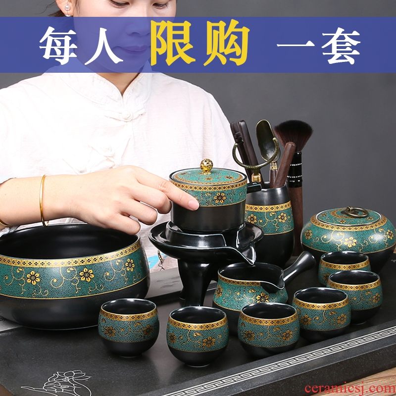 Archaize up was a whole set of jingdezhen old wood to burn kung fu tea set manual stone mill automatic teapot