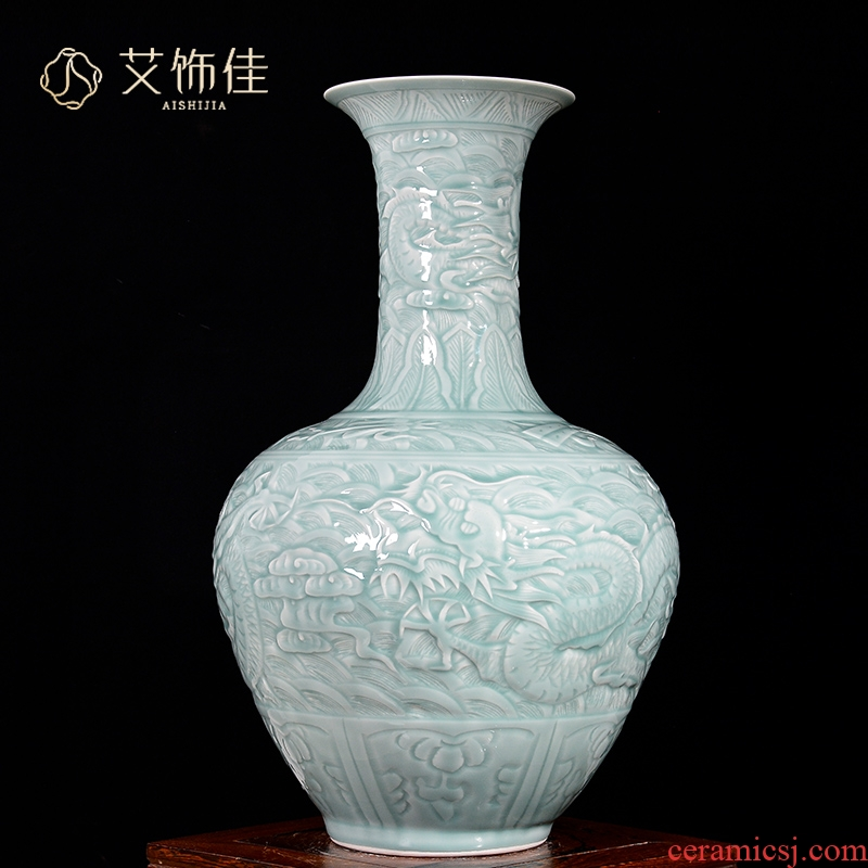 Jingdezhen ceramics archaize of carved dragon shadow blue glaze vase Chinese sitting room porch decoration floor furnishing articles