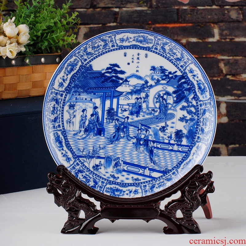 Send the base of jingdezhen ceramics modern home decoration decoration plate of the sitting room the classical arts and crafts
