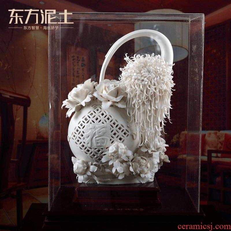 Oriental soil dehua white porcelain its art home sitting room ceramic flower furnishing articles/the accumulate fortune D02-53