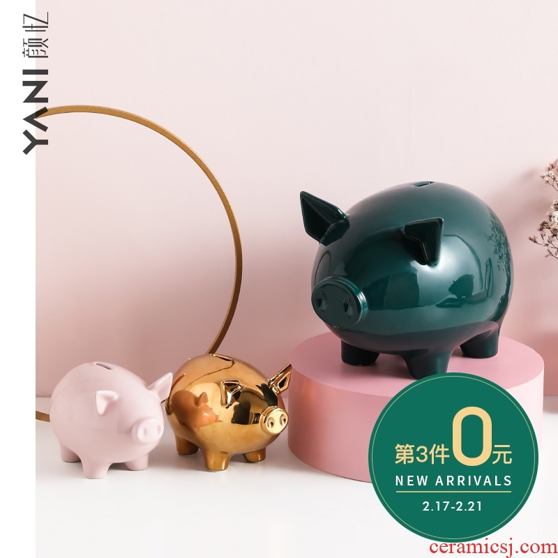The Nordic ceramic pig piggy bank decoration and furnishing articles not express lucky children change piggy bank and large capacity