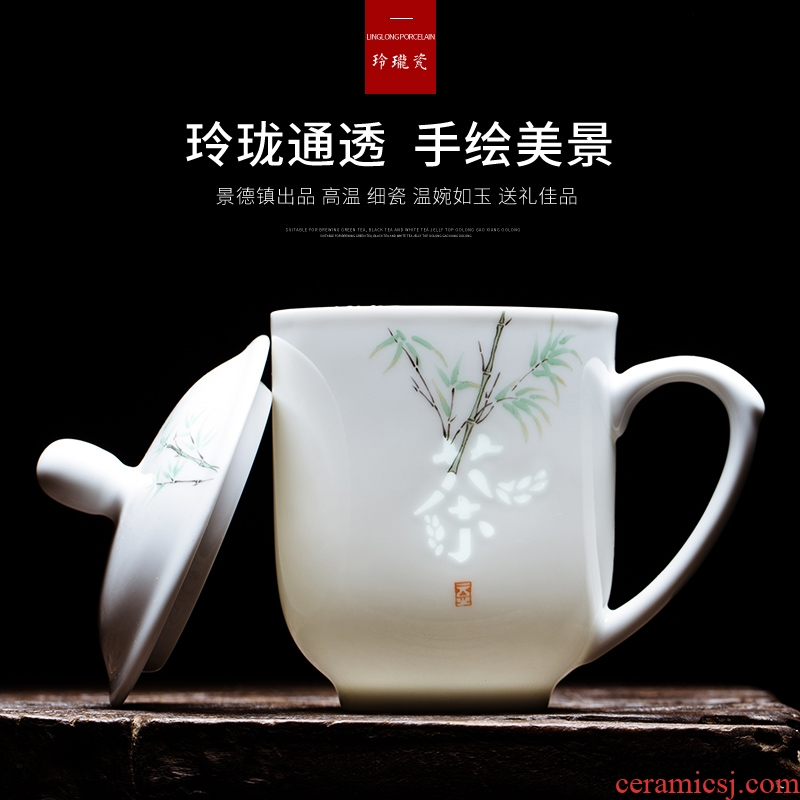 Jingdezhen hand - made exquisite ceramic keller cups home office tea cups with cover glass coffee cup