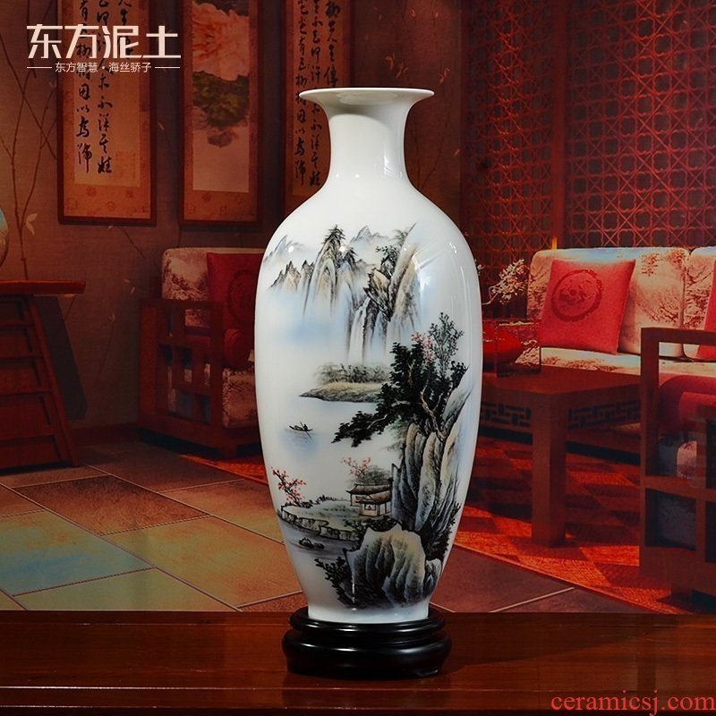 Oriental clay ceramic hand - made vases furnishing articles TV ark, flower arranging Chinese style is classic the sitting room porch decoration