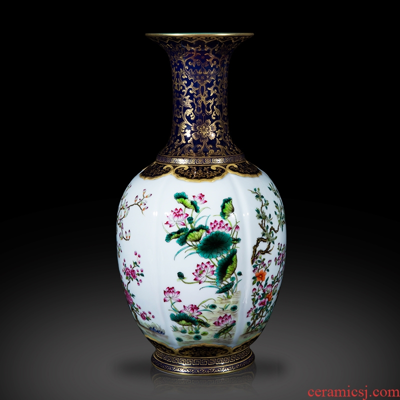 Jingdezhen ceramics imitation the qing qianlong ji LAN see colour flower vases, sitting room of Chinese style home decoration collection furnishing articles