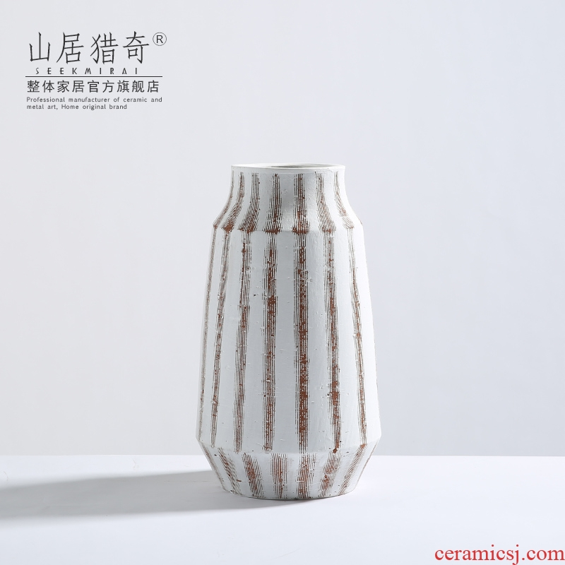 Jingdezhen ceramic vases, flower implement I and contracted stripe Nordic household of Chinese style pottery flower arranging furnishing articles in the living room