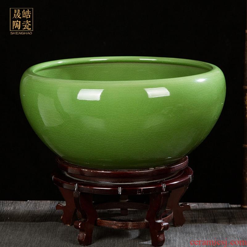 Jingdezhen ceramic glaze cracks tank turtle cylinder basin of water lily lotus goldfish tank sitting room handicraft furnishing articles