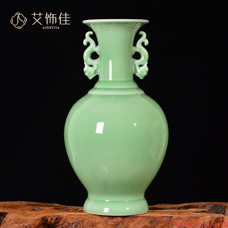Jingdezhen ceramics archaize shadow blue glaze flower arranging ears vase Chinese style living room TV ark adornment furnishing articles