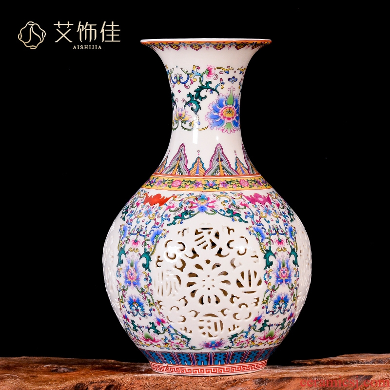 Jingdezhen ceramics hollow - out vases, flower arranging decoration as a new Chinese style living room porch TV ark, crafts