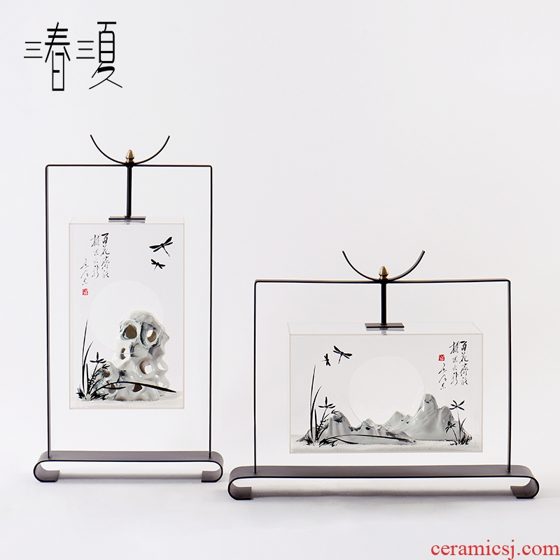 New Chinese style metal acrylic soft decoration interior decoration example room porch hotel ceramic rockery furnishing articles