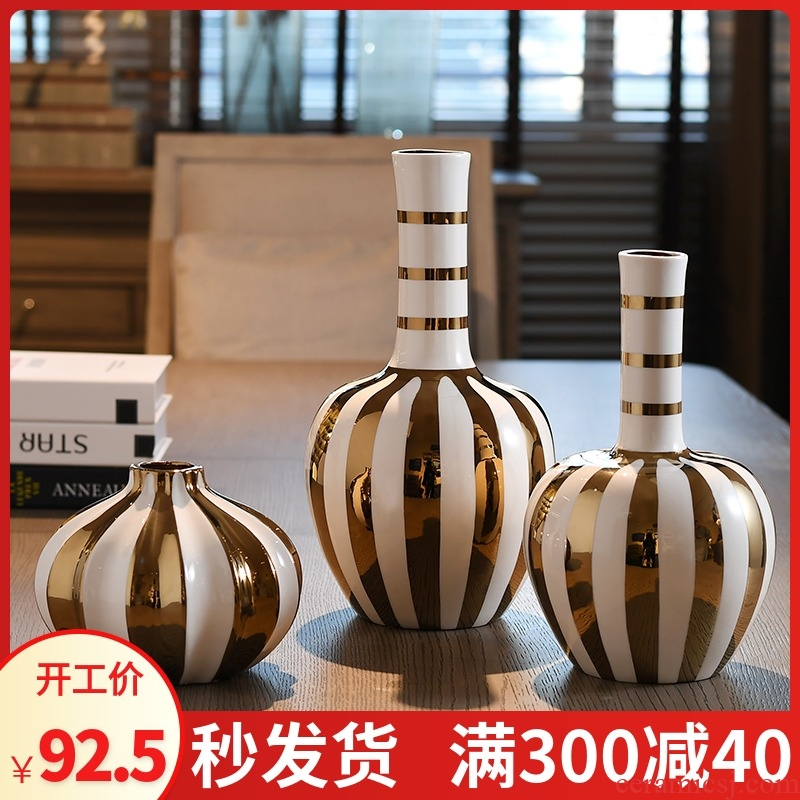 European ceramic vase large modern household creative flower arranging dried flower vase sitting room adornment is placed