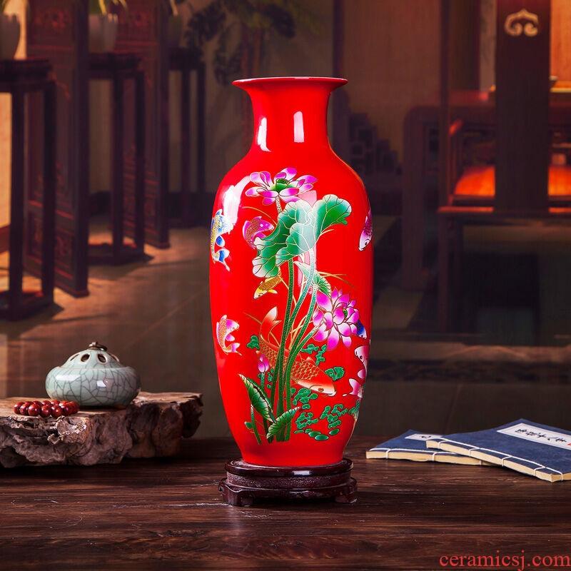 Jingdezhen ceramics blooming flowers red vase peony bottle home living room decoration handicraft furnishing articles