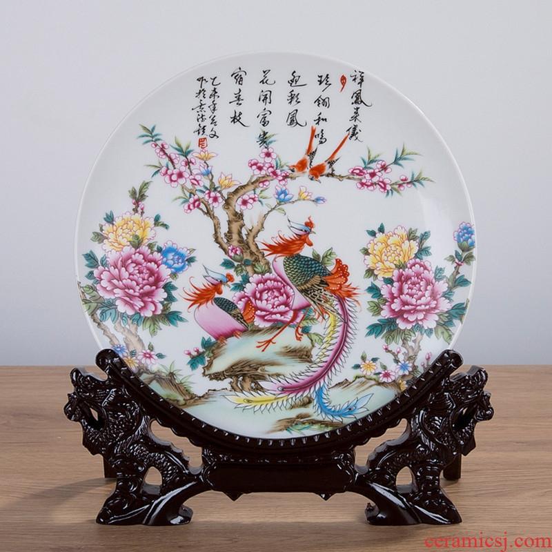 Jingdezhen ceramics decorated hang dish plate 21 cm plate of household adornment handicraft furnishing articles