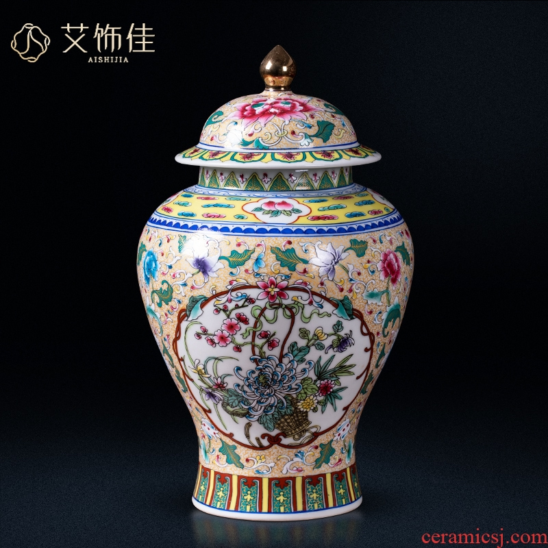 Archaize of jingdezhen ceramics colored enamel vase flower arrangement of Chinese style classical sitting room adornment home furnishing articles TV ark