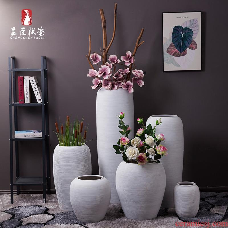 Jingdezhen ceramic vase furnishing articles be born white home sitting room office hotel furnishing articles dried flower porcelain art