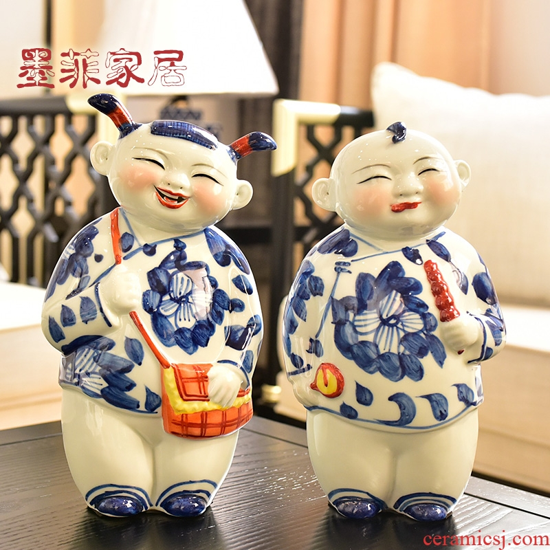 Jingdezhen blue and white porcelain its of new Chinese style household soft adornment version into creative furnishing articles gift decoration