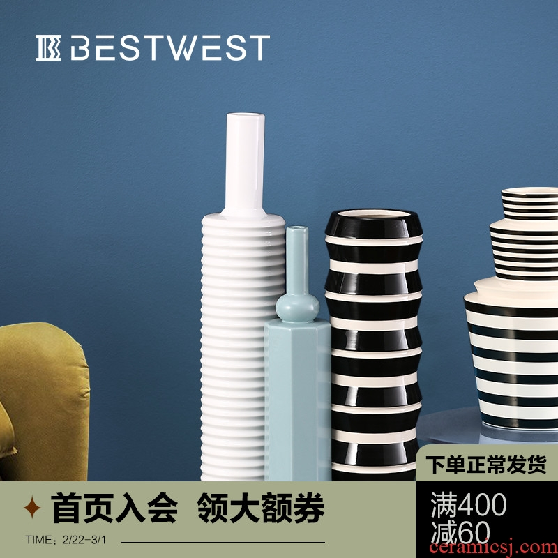 BEST WEST designer ceramic vase furnishing articles geometrical ideas of new Chinese style dry flower vase decoration light of key-2 luxury