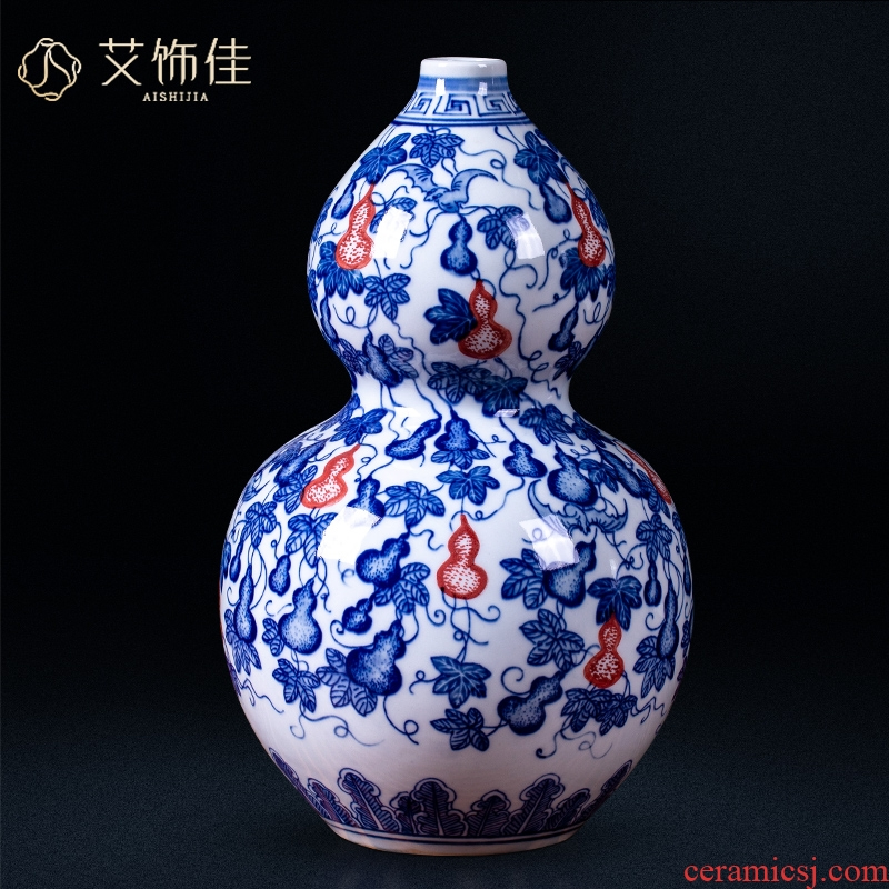Jingdezhen blue and white ceramics youligong antique vase gourd Chinese style household office sitting room adornment is placed