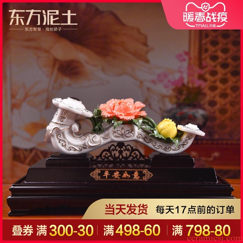 Oriental clay ceramic flower is placed high - grade art home sitting room of TV ark, wine porch decoration