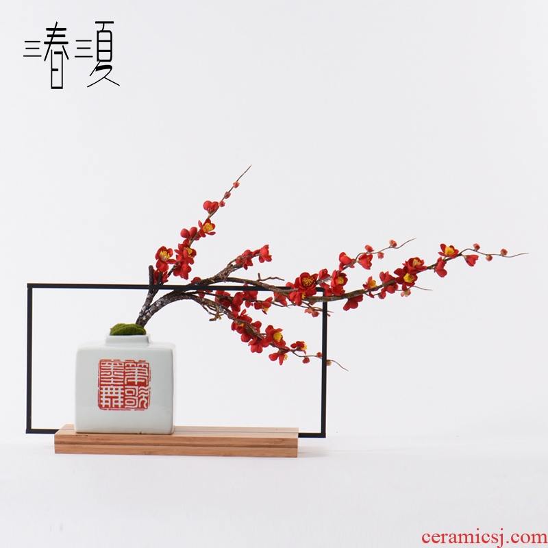 New Chinese style is light and decoration ceramics TV cupboard feel flower art potted place hotel study hall porch example room decoration