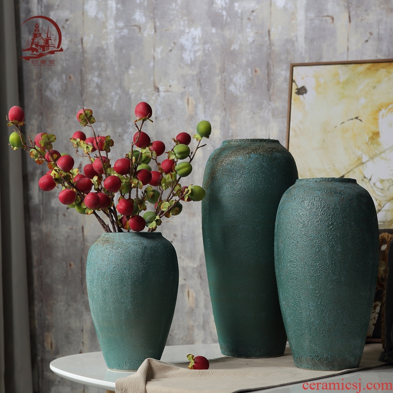 European large ground vase to restore ancient ways furnishing articles creative hotel ceramic lucky bamboo flower arranging device sitting room adornment