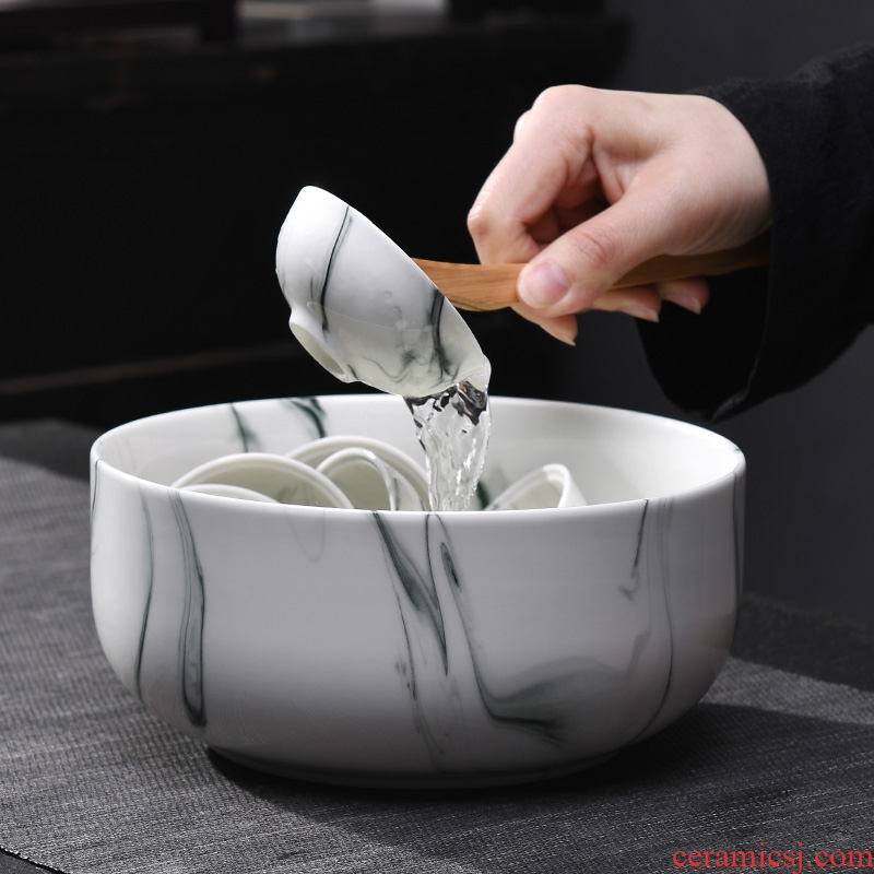 A good laugh, Japanese zen coarse pottery tea wash to your household ceramic ink wash water jar tea cup kung fu tea set with zero