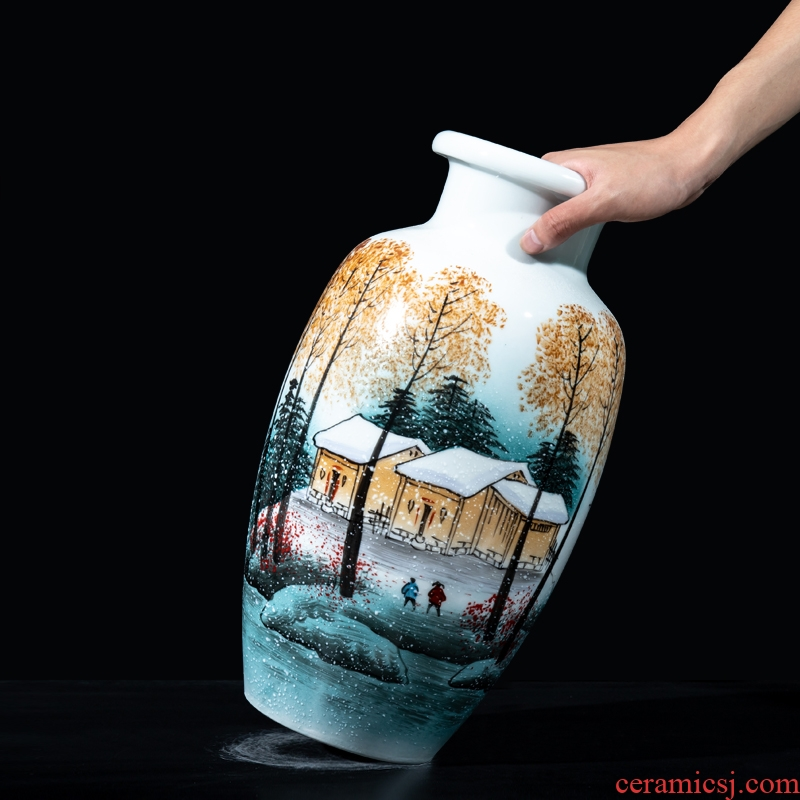 Jingdezhen ceramics hand - made vases furnishing articles sitting room flower arrangement of new Chinese style household television wine decorative arts and crafts