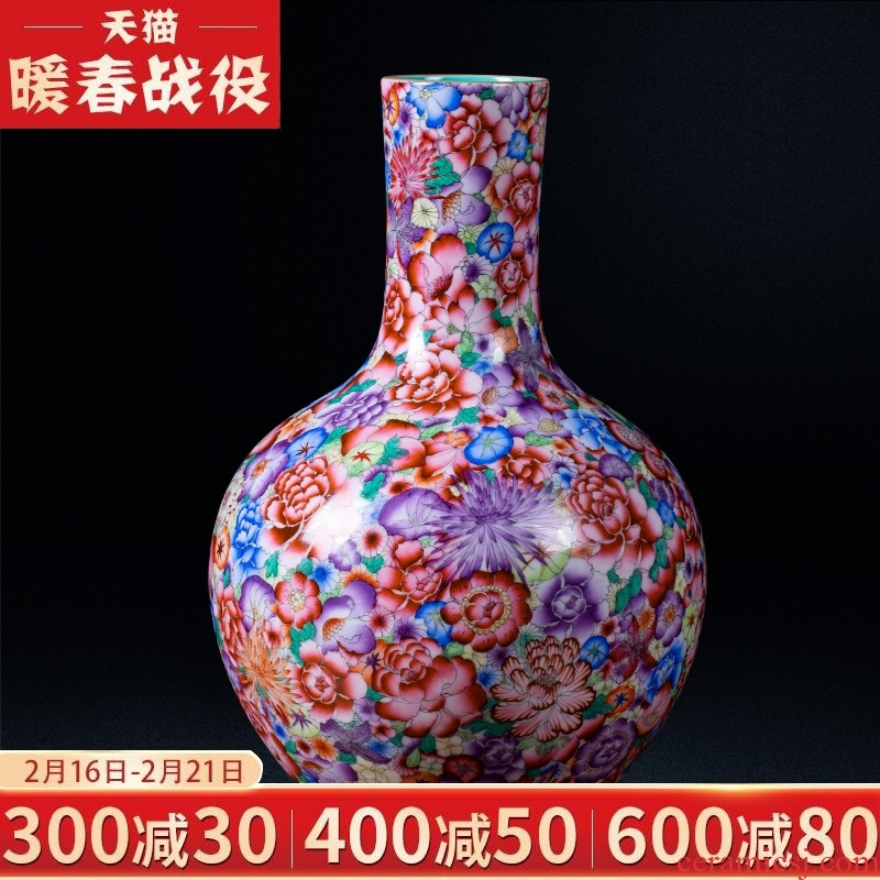 Jingdezhen ceramic vases, antique qianlong pastel flower is classical Chinese style household wine sitting room adornment ornament