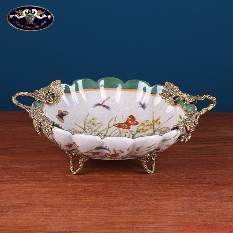 American light key-2 luxury sitting room tea table compote household Europe type restoring ancient ways household act the role ofing is tasted the receive plate handicraft ceramic furnishing articles