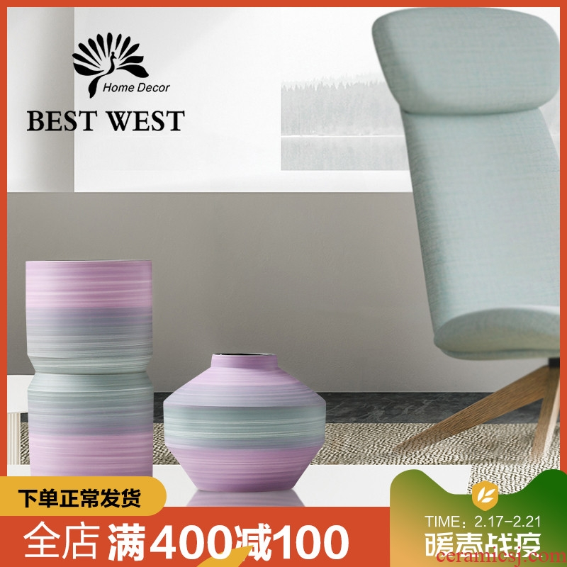 BEST WEST light much creative ceramic vase large household dry flower arranging flowers is the sitting room adornment is placed on the ground