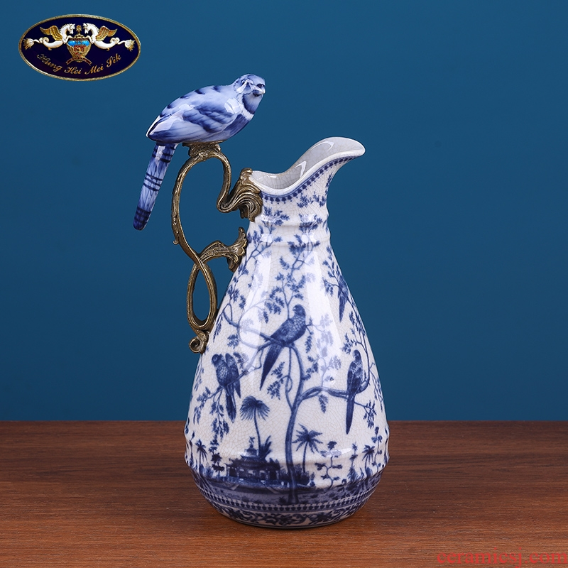 American blue parrot sitting room ark decoration ceramic vase soft outfit style restoring ancient ways receptacle porch act the role ofing is tasted furnishing articles