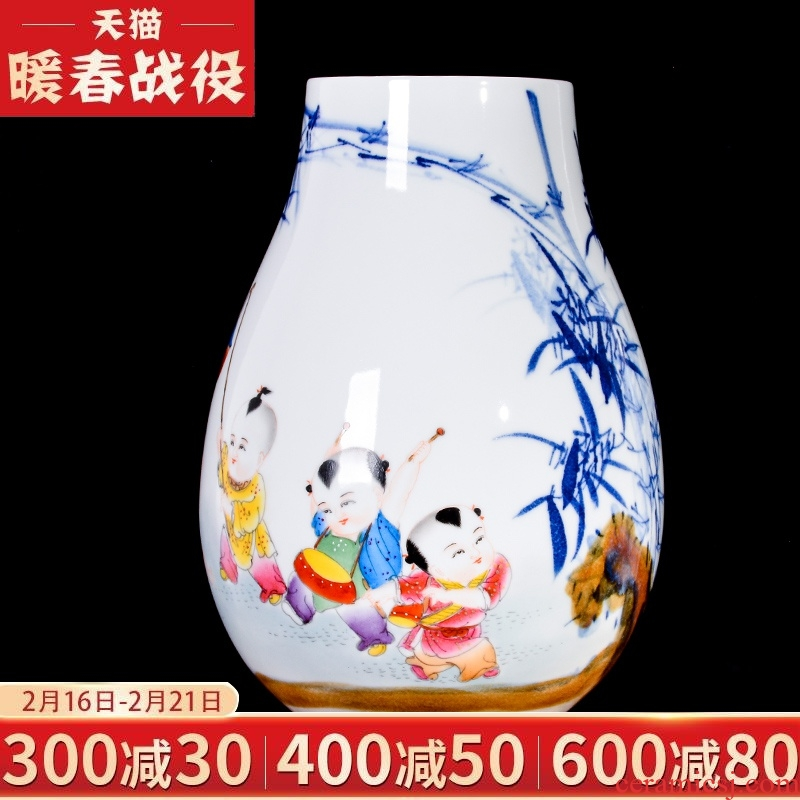 Jingdezhen ceramic hand - made lad dry flower arranging flowers is placed the new Chinese style living room TV cabinet decorative vase crafts