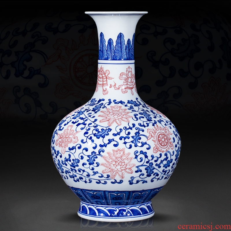 Jingdezhen ceramics furnishing articles antique blue and white porcelain vase bound branches sweet figure sitting room of Chinese style household crafts