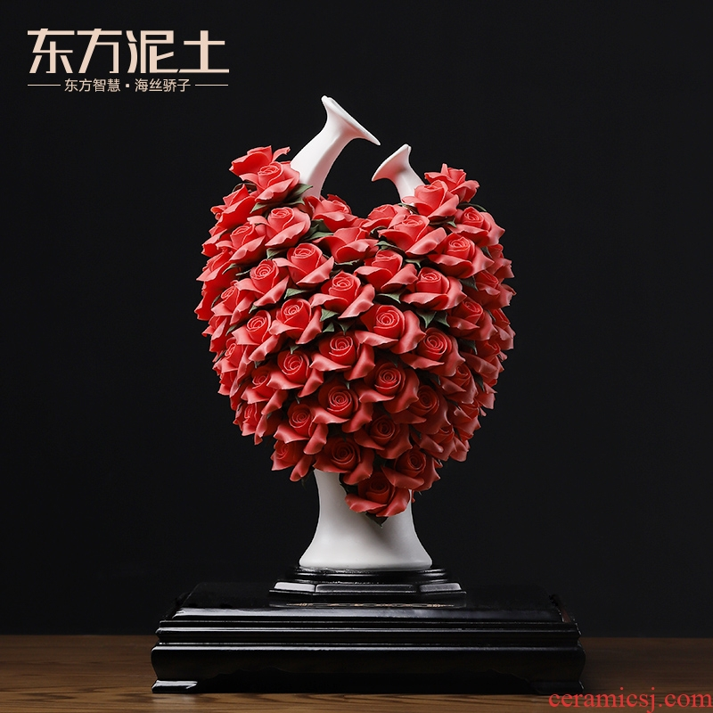 The east mud wedding present ceramic flowers furnishing articles for girlfriends friend colleague gift newly - I bridal chamber decorates