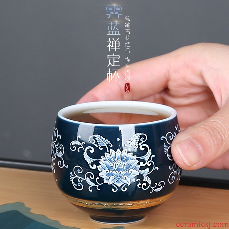 Blue and white porcelain cups of jingdezhen ceramic kung fu master single cup tea cups of tea, hat to bowl tea cup