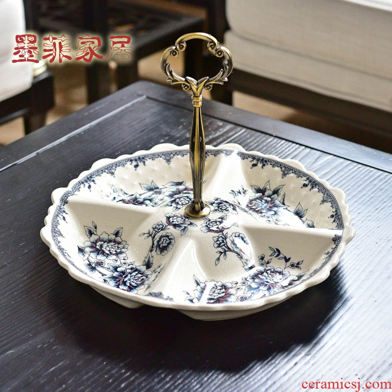 New Chinese style creative ceramic fruit tray table dining room in the living room New seeds dry bowl dish receives furnishing articles